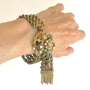 Rhinestone Bracelet Fringe Chain Mail Bangle Cuff
